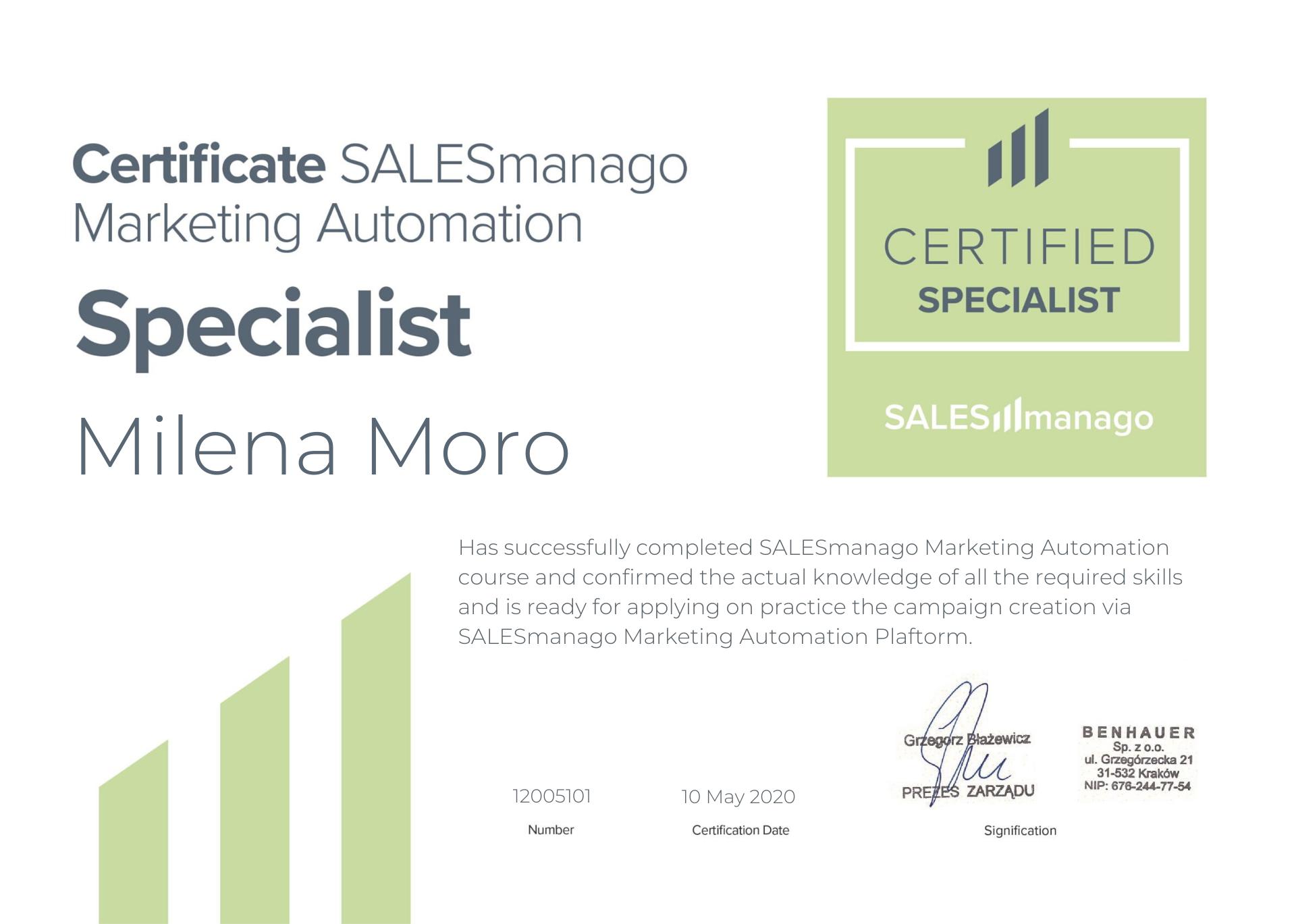 Certificate - Milena Moro